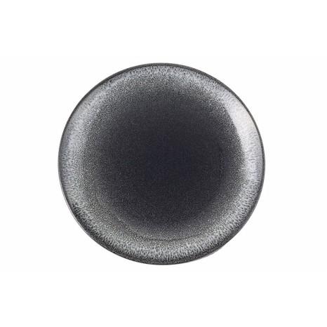 Apvali lėkštė ETHOS TWILIGHT Ø31 cm, juoda, baltais kraštais