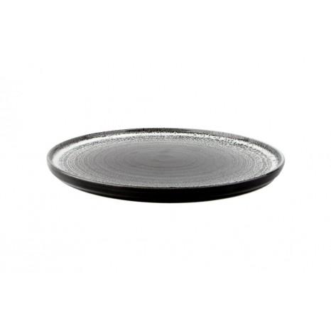 Apvali lėkštė ETHOS TWILIGHT Ø30 cm, juoda, lygi, stačiais baltais kraštais