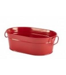 Indas serviravimui cinkuoto plieno, raudonas, ovalus su rankenėlėmis 23x15x7cm