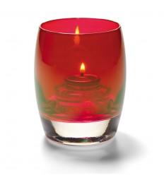 Žvakidė sferinė stiklinė (raudona) [h-9,5 cm, Ø 7,6 cm; HD8/12/15]