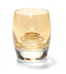 Žvakidė sferinė stiklinė (aukso sp.) [h-9,5 cm, Ø 7,6 cm; HD8/12/15]