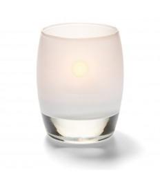 Žvakidė sferinė stiklinė (matinė balta) [h-9,5 cm, Ø 7,6 cm; HD8/12/15]