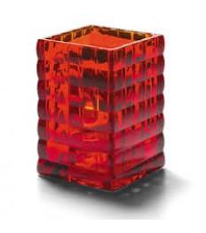 Žvakidė kvadratinė, optinio stiklo (raudona) [h- 9,5cm, Ø 6,5 cm; HD12/15/18]