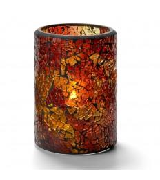 Žvakidė cilindrinė, sutrūkinėjusio stiklo (auksinė sp.) [h-11,4 cm, Ø 7,9 cm; HD26/42]