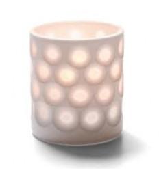 Žvakidė porcelianinė su taškeliais (balta) [h- 8,5 cm, Ø 7 cm; HD8/12/15/26]