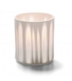 Žvakidė porcelianinė dryžuota (balta) [h- 8,5 cm, Ø 7 cm; HD8/12/15/26]