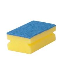 Nailono kempinė Green-Tex® 10 vnt. pak., 12x6.5x4.5 cm, geltona mėlynu abrazyviniu paviršiumi