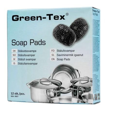 Kempinėlės Green-Tex® su valymo priemone 12 vnt. dėž., plieno vatos