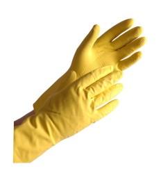 Apsauginės guminės pirštinės WeCare S, geltonos sp.