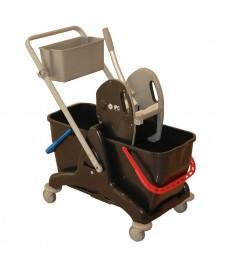 2P valytojų vežimėlis 810x435x880 mm, juodas, su 2x15 l kibirais, nugręžėju, dėžutė daiktams, laikiklis šluotai
