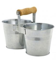 Kibirėliai serviravimui cinkuoto plieno, su rankena, 10x20,6x14cm