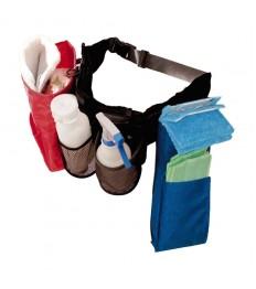 Diržas valymo priemonėms Cleano Standart su 2 prisegamomis kišenėmis šluostėms ir kišene buteliukui
