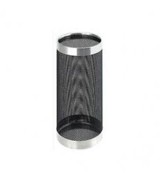Skėčių stovas juodas metalinis su chromuotais žiedais (21 Ø x 49 H cm)
