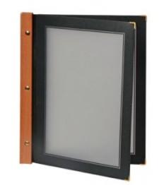 SECURIT meniu segtuvas Wood (4 lapai) A4, 32x26x1,5 cm, juodos sp., medine nugarėle