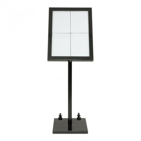SECURIT informacinis LED stendas ( baltos sp. lemputės) 4xA4, juodai dengtu nerūd. plieno rėmu ir stovu