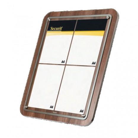 SECURIT informacinis stendas su stiklu 4xA4, riešutmedžio, pastatomas ar kabinamas