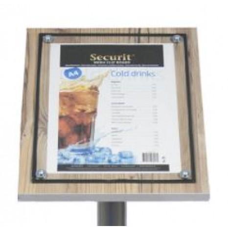SECURIT informacinis stendas su stiklu A4, ąžuolo, pastatomas ar kabinamas