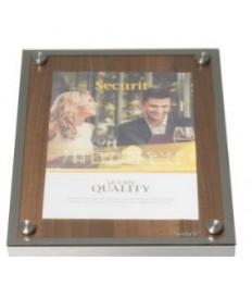 SECURIT informacinis stendas su stiklu A4, riešutmedžio, pastatomas ar kabinamas