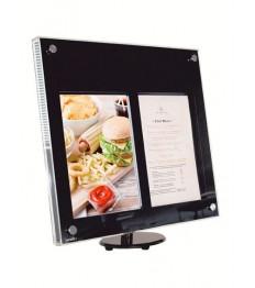 SECURIT informacinis LED stendas Acrylic 2xA4, 21,45x21,06x5,46 cm, pastatomas ar kabinamas, juodos sp., su stovu