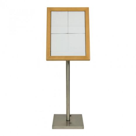 SECURIT informacinis LED stendas 4xA4, medinis, šviesiai rudas, pastatomas ar kabinamas