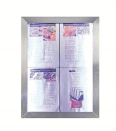 SECURIT informacinis LED stendas 70x35x6cm, 4xA4, nerūd. plieno