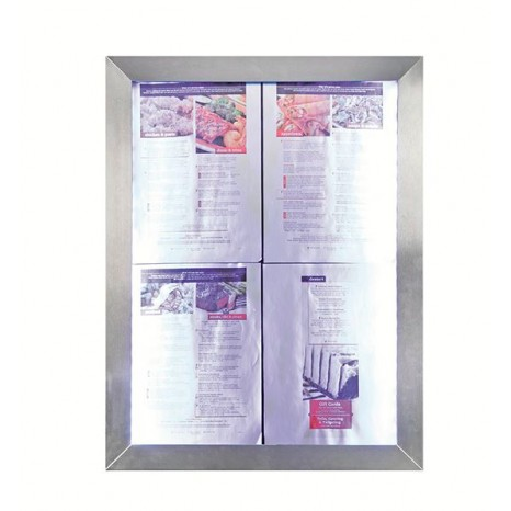 SECURIT informacinis LED stendas 70x35x6cm, 4xA4, nerūd. plieno