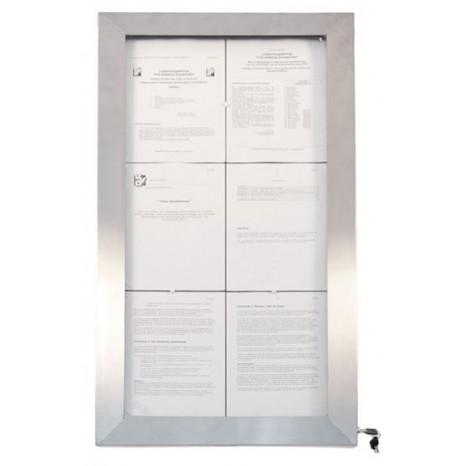 SECURIT informacinis LED stendas 6xA4, spalvotas, nerūd. plieno, pastatomas ar kabinamas