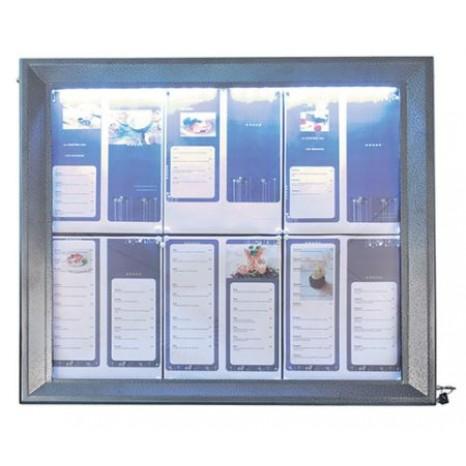 SECURIT informacinis LED stendas 6xA4, 68x72x5 cm, dengto plieno, pastatomas ar kabinamas