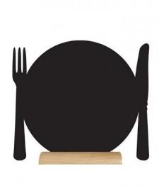 SECURIT stalo kreidinė lentelė siluetas LĖKŠTĖ 24x25x6 cm,  su mediniu pagrindu ir žymekliu
