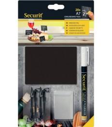 SECURIT kreidinės lentelės A7 x 20 vnt., juodos, su smeigtukais, laikikliais ir SMA žymekliu