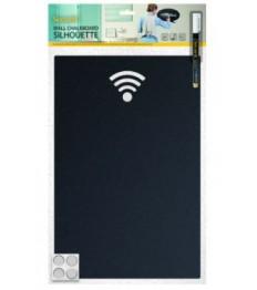 SECURIT kreidinė sieninė lentelė WIFI 38x25x0,3cm , su žymekliu