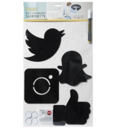 SECURIT kreidinės sieninės social media lentelės 4 vnt., 15x15x0,2cm, su žymekliu