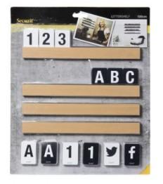 SECURIT lentynėlė su kortelėmis (raidės, skaičiai, ženklai) 100cm, natūralaus medžio