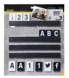 SECURIT lentynėlė su kortelėmis (raidės, skaičiai, ženklai) 100cm, juodos sp.