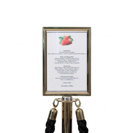 SECURIT informacinis stendas užtvaros stulpeliui 46x24x2 cm, aukso sp. rėmelis