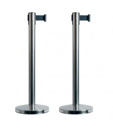 SECURIT užtvaros stulpelis su ištraukiama juosta 88x48x9,5cm 2 vnt. chromuoti