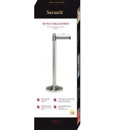 SECURIT užtvaros stulpelis su ištraukiama pilka juosta ir pagrindu 101x51x51cm, nerūd. plieno